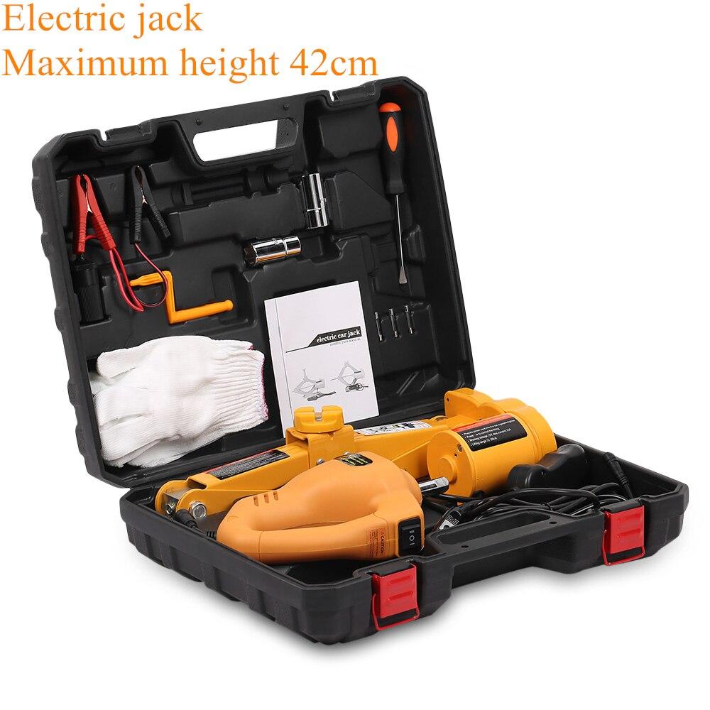12V voiture électrique hydraulique plancher Jack ensemble de levage 42cm 2T Impact clé outil pneu réparation outil avec lumière LED télécommandée - 2
