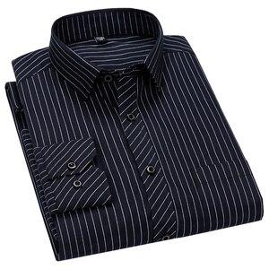 Image 1 - Mężczyźni Business Casual długi rękaw koszula klasyczne paski męskie koszula na przyjęcia towarzyskie koszule Slim Fit duży rozmiar 2XL 3XL 4XL fioletowy
