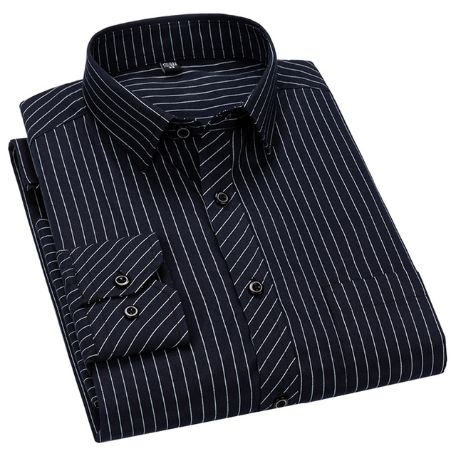 Men Business Casual Long Sleeved Shirt Classic Striped Male Social Dress Shirts Slim Fit Large Size 2XL 3XL 4XL Purple