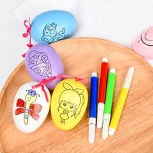 Huilong Children's Handmade  Painted Easter Eggs Simulation Eggs Duck Eggs Goose eggs Puzzle Doodle Toys Kids Crafts Coloring strange eggs
