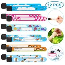 12 pçs/set pulseira crianças, viagem ao ar livre seguro anti-perda pulseira reconhecimento de segurança pulseira para crianças ajustável à prova d' água