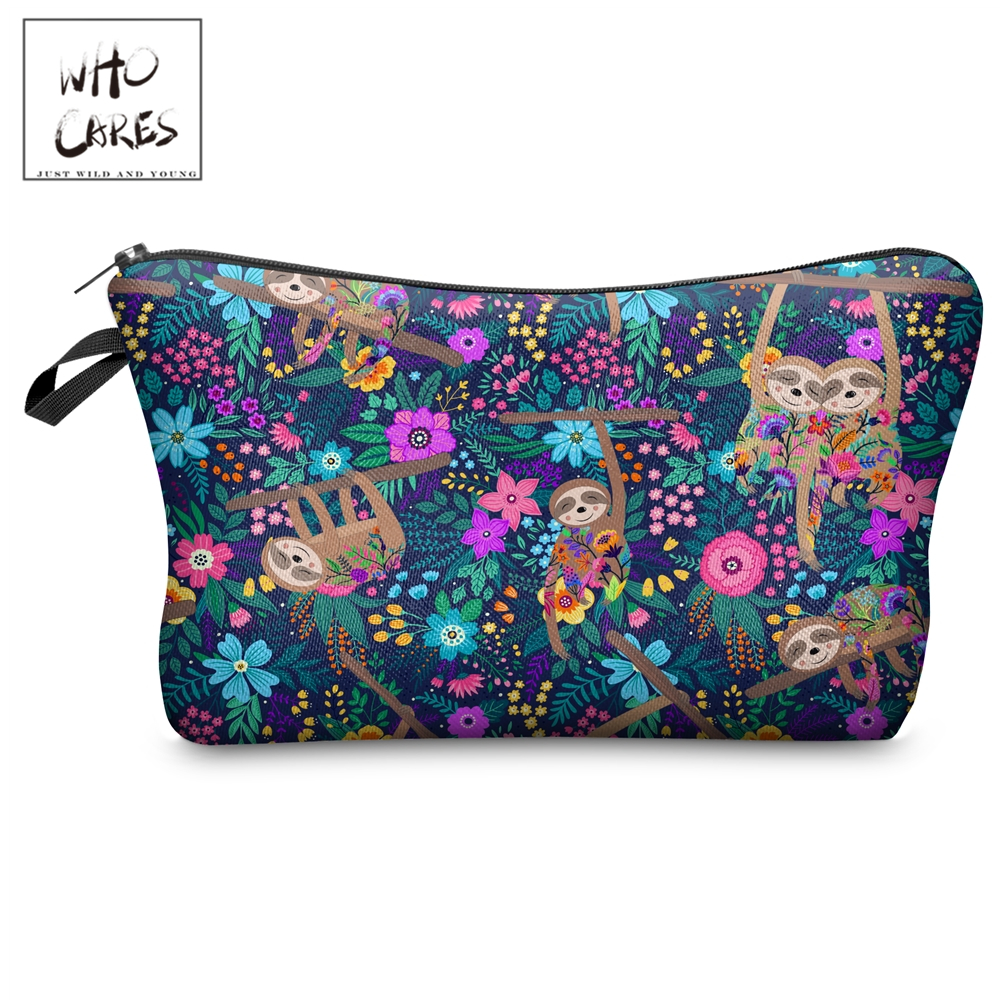Who Cares Makeup Bags Women Cosmetic Bag Sloths Meadow Printing Oiletry Bag Cosmetics Pouchs For Travel Make Up Bag