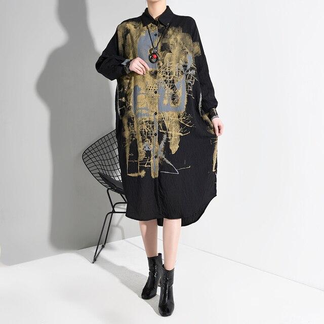Black spatter Print Split Big Size  Dress lapel Long Sleeve Loose Fit  3