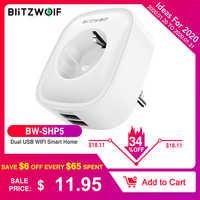 BlitzWolf BW-SHP5 WIFI prise de maison intelligente prise ue 2.1A double Ports USB 16A travailler avec Amazon Alexa Google Assistant IFTTT Tuya APP