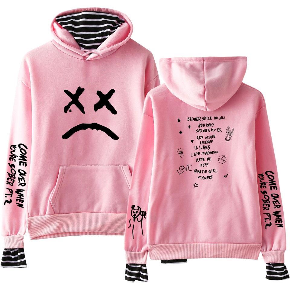 Lil Peep Print Fake Two Pieces Hoodies Men Women 2019 Autumn New Fashion Sweatshirts Harajuku Matching Hoodies Boys Coat Top
