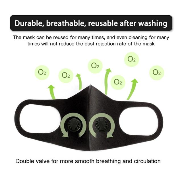 Reusable Anti-flu Dust Allergy Mask Breathable Durable PM2.5 Single And Double Air Valve Eficient Filtration Of Dust Bacteria 1