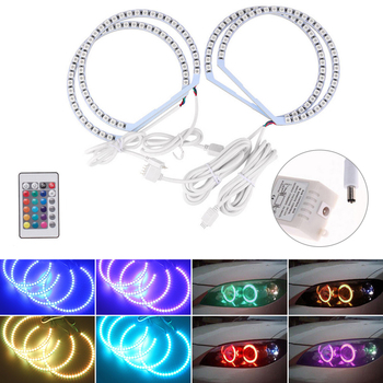 Led Angel Eyes Halo Rings IR Remote Control For BMW E36 E38 E39 E46 Multi-Color 5050 RGB Flash SMD Car Lights Car Accessories image