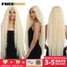Özgürlük sentetik dantel ön peruk 40 inç süper uzun derin doğal dalga Ombre sarışın 613 renk saç peruk kadın moda
