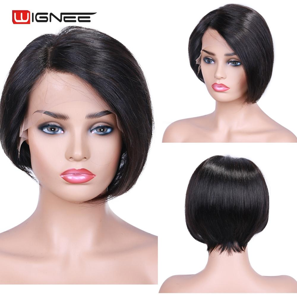 Wignee Short Straight Hair Lace Front Bob Human Wigs For Black Women Side Part 150% High Density Virgin Hair 13*4 Lace Human Wig