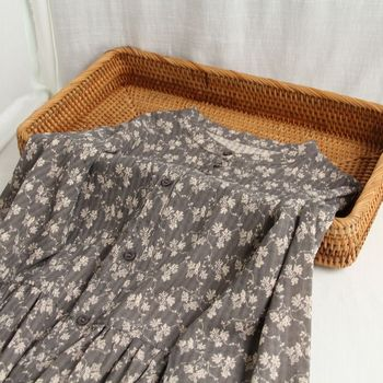 Vintage Lamtrip flores estampado algodón stand collar manga larga vestido mori girl 2020 otoño
