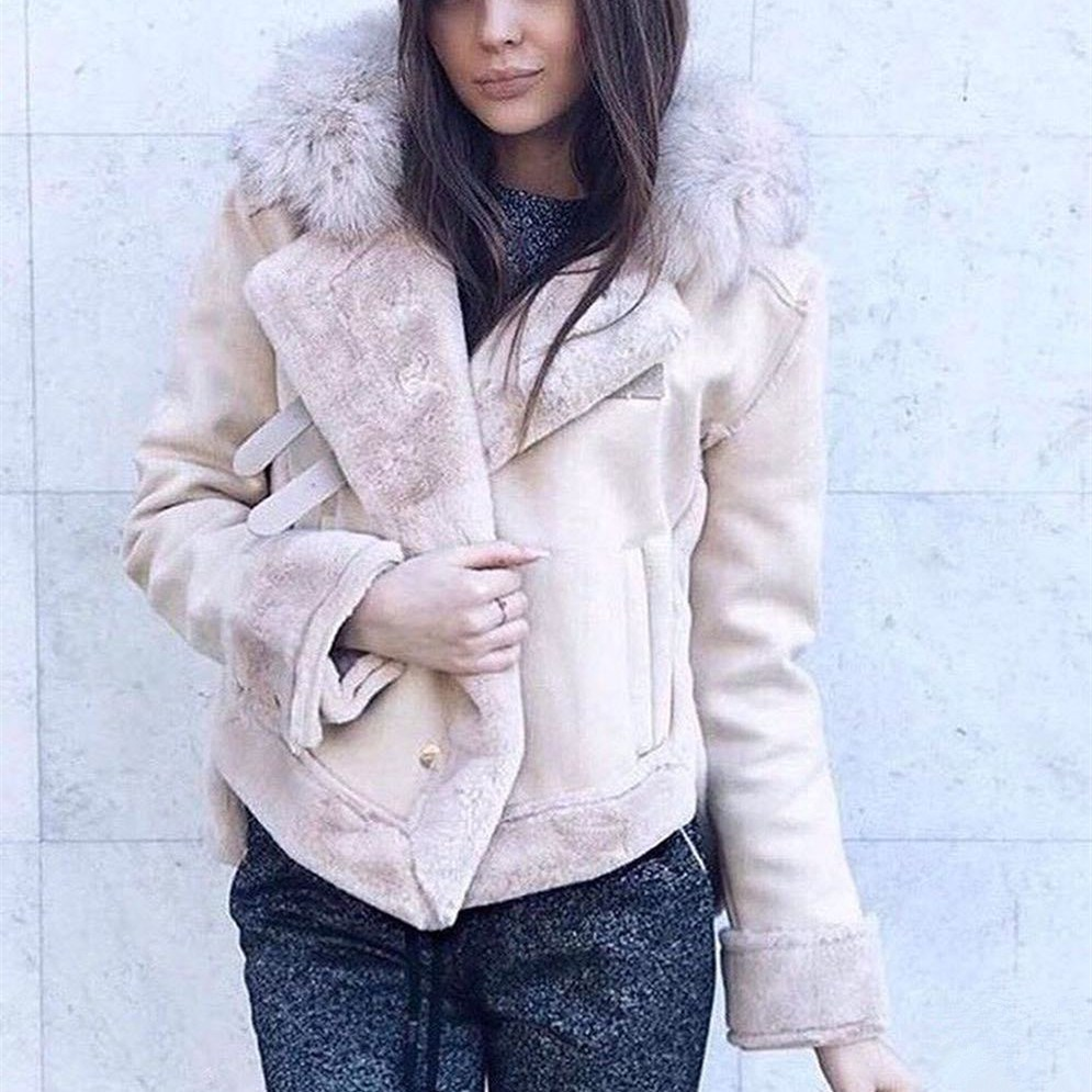 Vintage Suede Leather Jacket Short Jackets Women Warm Lamb Wool Thick Fur Lambs Coat Casual Motorcycle Loose Outwear
