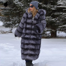 Handmade Clothing Silver Fox Fur Coat High Quality Russian Winter Full Pelt New Genuine Leather Jackets Thicken Warm Customized