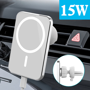 15W Wireless Car Charger Magnet Adsorbable Phone Car Holder For iphone 12 Mini 12 Pro Max For Magsafe Fast Wireless Charging image