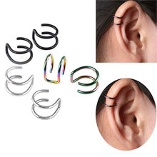 1PCS Clip On Wrap Earring Tragus Stainless Steel 2 Rings Ear Cuff Clip nose ring Fake Piercing Body Jewelry Dilataciones(China)