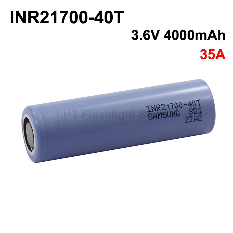 INR21700-40T 3.6V 35A 4000mAh Rechargeable Li-ion 21700 Battery Without PCB