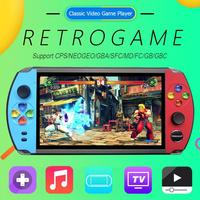 X19 Handheld Retro Game Console 7.0 inch IPS Screen Built in 1600/2500 Classic Games 16GB Video Game Player For FC/GBA/NES Game