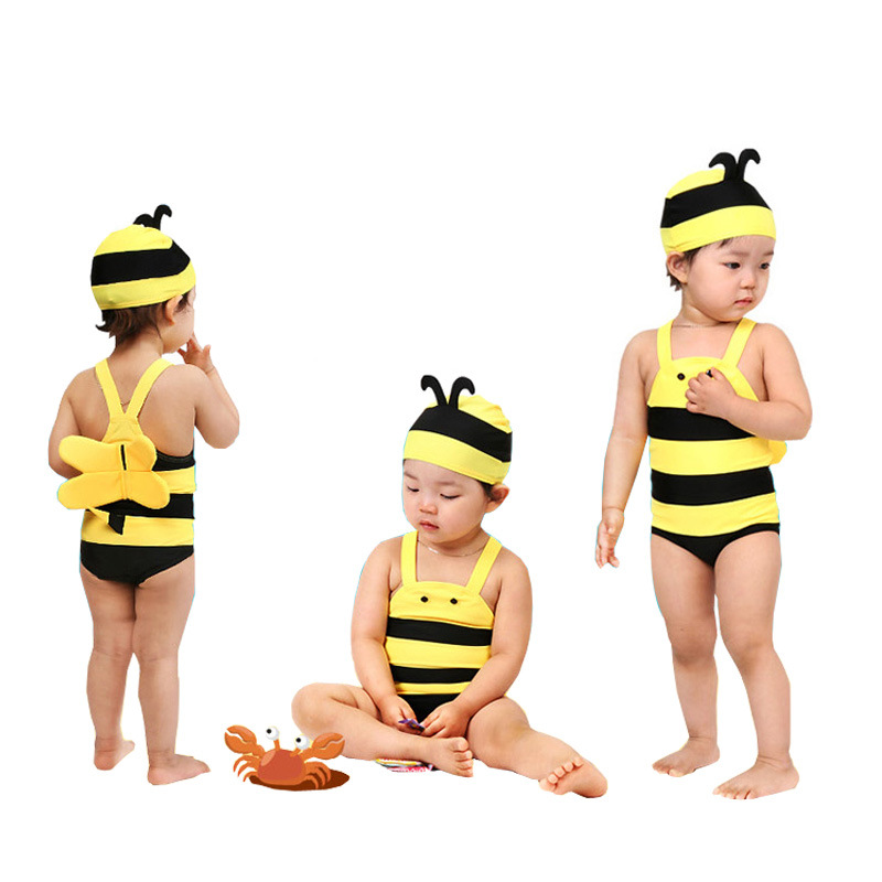 KID'S Swimwear Men And Women Children Swimming Baby Infant One-piece Infant Small CHILDREN'S Baby 1-5-Year-Old Small Bee Swimwea