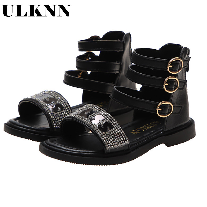 ULKNN Girls 2020 Spring Summer Sandals Soft Bottom Wild Girl Roman Sandals Fashion Shoes For Children
