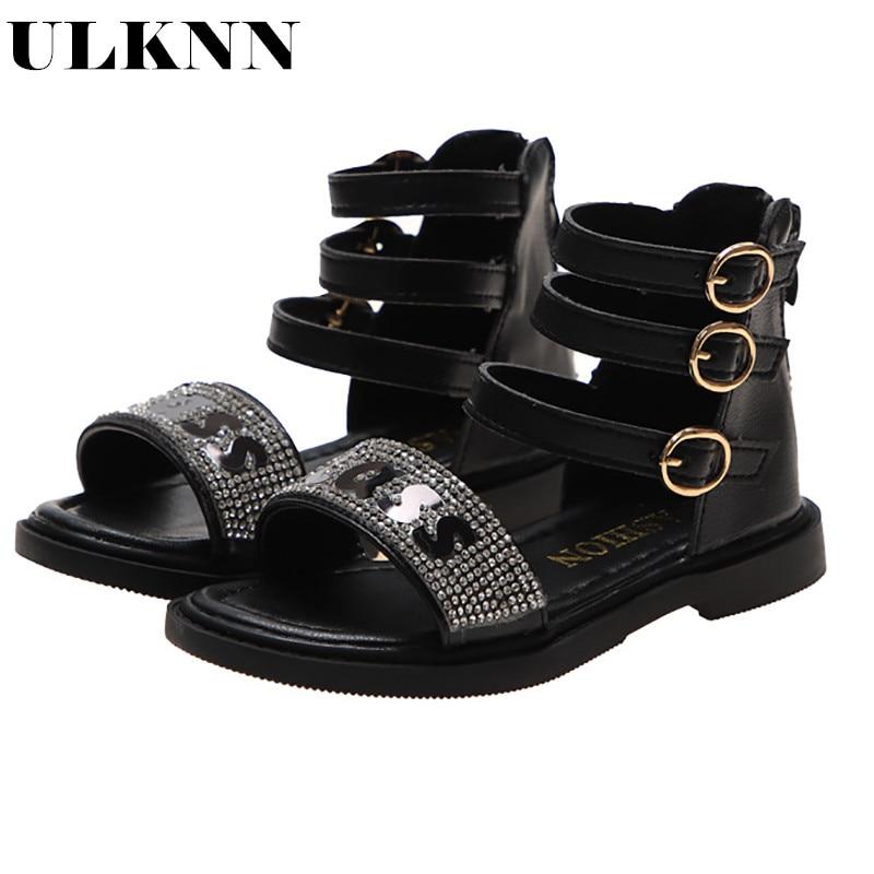 ULKNN Girls 2020 Spring Summer Sandals Soft Bottom Wild Girl Roman Sandals Fashion Shoes For Children