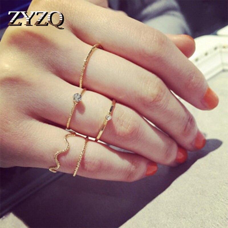 ZYZQ Minimalistischen Einfache Ring Sets Kühlen Euro Stilvolle Täglichen Zubehör Für Teen Mädchen Zwei Farbe Erhältlich Mode 5-Stück jewel