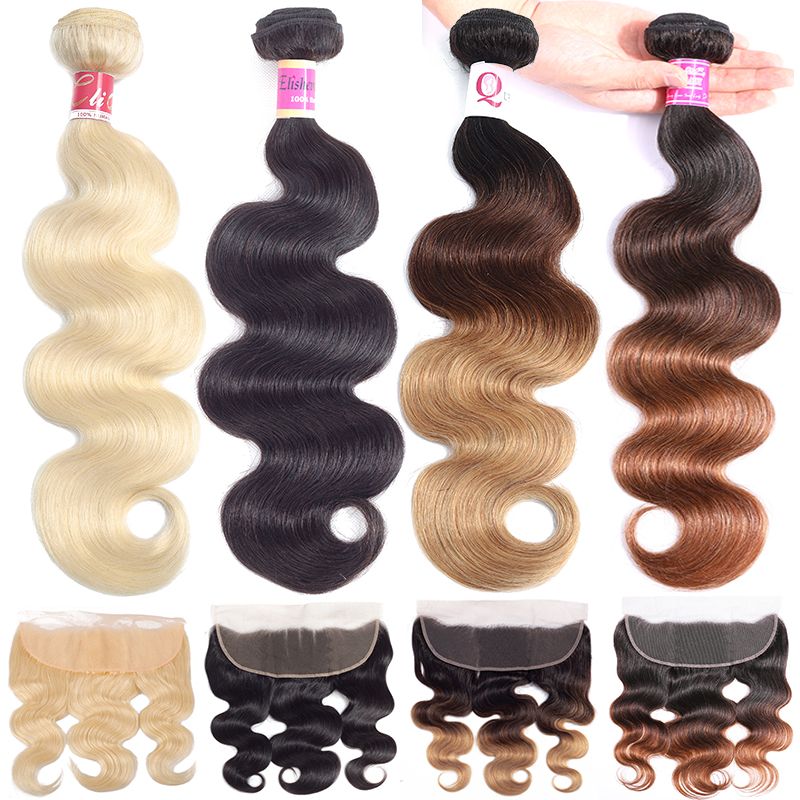 Peruvian Body Wave Bundles With Frontal 1b/4/27 Blonde 613 Bundles With Frontal Three Tone Human Hair Bundles With Frontal Remy image