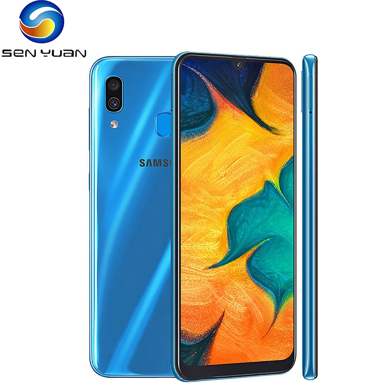 O telefone celular desbloqueado remodelado samsung galaxy a30 6.4 polegadas tela cheia 3gb + 32gb único núcleo octa do sim 4g-lte 16mp