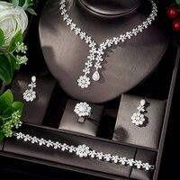 HIBRIDE Classic Cubic Zirconia Bridal Jewelry Set Flower Design Earrings and Necklace Set Wedding Accessories bijoux N 1105