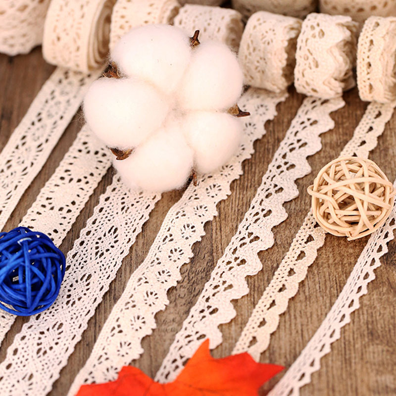 (100yard)Beige Embroidered Lace Crocheted  Ribbons Fabric Trim DIY Apparel Sewing Handmade Craft Materials
