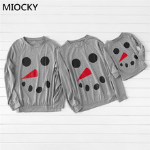 Autumn Mother Father Kids Matching T-shirt Family Cute Snowman Printed Pullover Grey tshirt matching clothes E0266