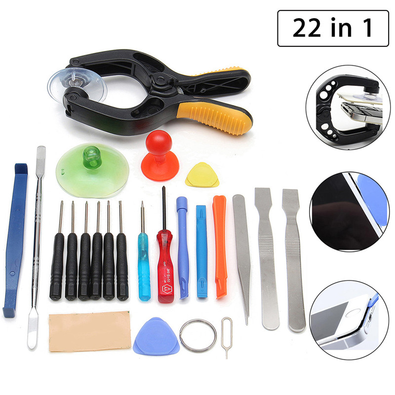 22 In 1 Mobile Phone Screwdriver Tablet LCD Screen Opening Plier Suction Cup Pry Glasses Repair Kit Set Tools For Smartphone