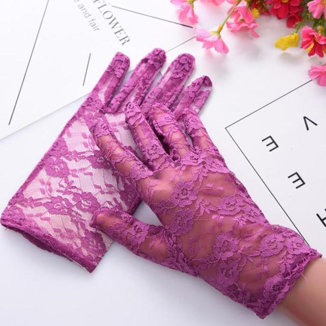 Fashion Women Lady Lace Party Sexy Dressy Gloves Summer Full Finger Sunscreen Gloves for Girls Mittens 2PCS 4