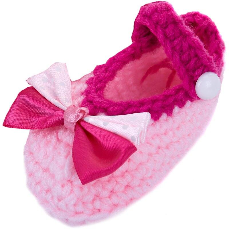 Newborn Baby Infant Girls Bow Tie Crochet Knit Socks Crib Shoes Prewalker 0-12 Months (Type 2)