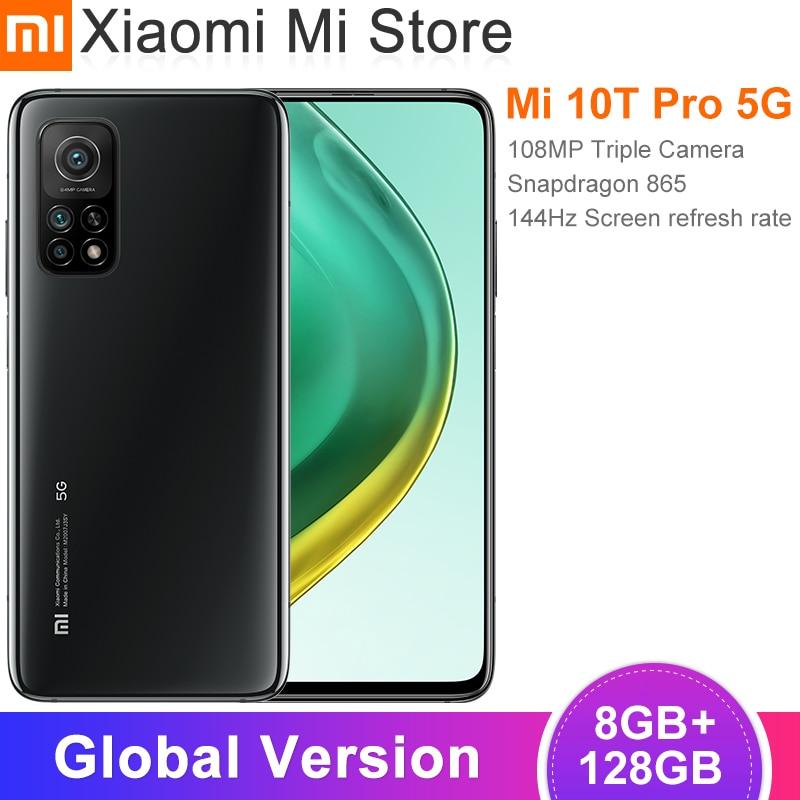 Versión Global Xiaomi Mi 10T Pro Smartphone 8 GB RAM 128 GB ROM Snapdragon 865 Octa Core 144Hz 108MP cámara trasera 6,67