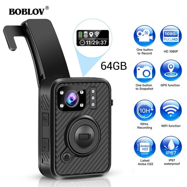 BOBLOV Wifi caméra de Police 64GB F1 corps Kamera 1440P caméras portées pour lapplication de la loi 10H enregistrement GPS Vision nocturne DVR enregistreur