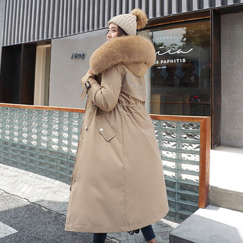 Fashion Solid Cotton Liner Parker Down Parkas New Long Hooded Winter Jacket Women Adjustable Waist Warm Fur Collar Coat new women long coat parkas female glossy winter warm thicken faux fur coats silver down jacket parker jacket coat