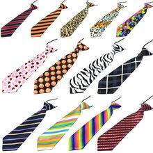 Предварительно завязанный эластичный галстук в радужную полоску с леопардовым принтом яблока для мальчиков, детские шелковые галстуки, сценический костюм для выступлений