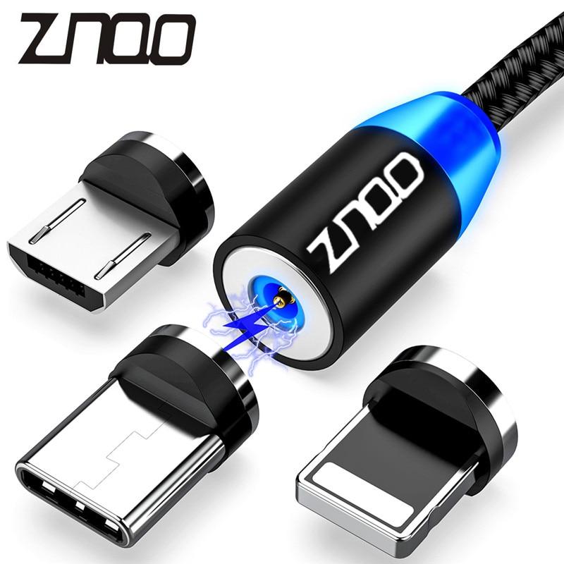 ZNQO светодиодный магнитный кабель USB быстрой зарядки Тип C кабель магнит Зарядное устройство для зарядки и передачи данных Micro USB кабель Мобил...