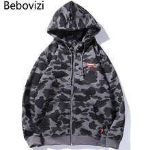 цены на Bebovizi Mens Harajuku Hip Hop Camouflage Hoodie Sweatshirt Hoodie Streetwear Green Gray Zip Up Fleece Camo Hooded в интернет-магазинах