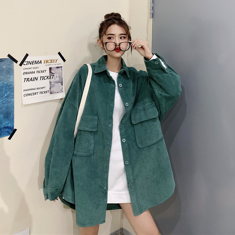 Harajuku Plus Size Women Long Sleeve Blouse 2019 Korean Fashion Style Ladies White Tops Corduroy Shirt Kpop Couple Clothes Green