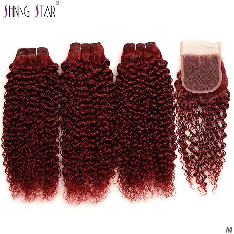 Kinky Curly Hair Closure Human-Hair-Bundles Shining Bold 99J Red Brazilian with Burgundy title=