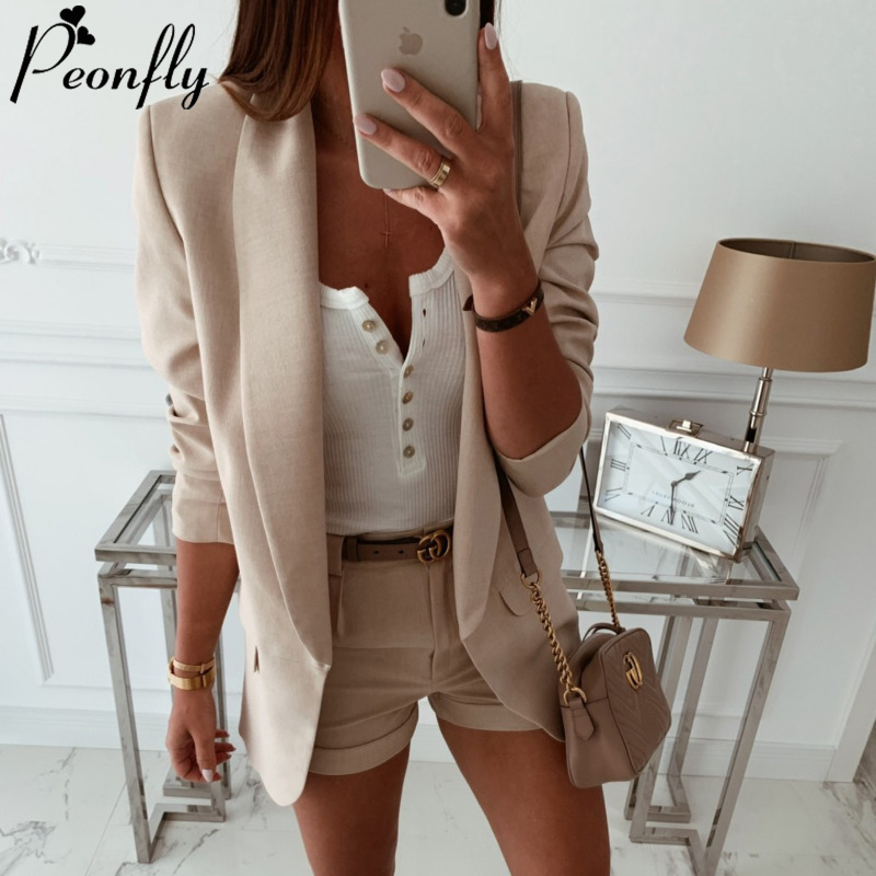 PEONFLY Fashion 2020 Spring Loose Women Jackets Office Lady Open Front Notched Blazer Casual Korean Solid Pocket Coat Femme