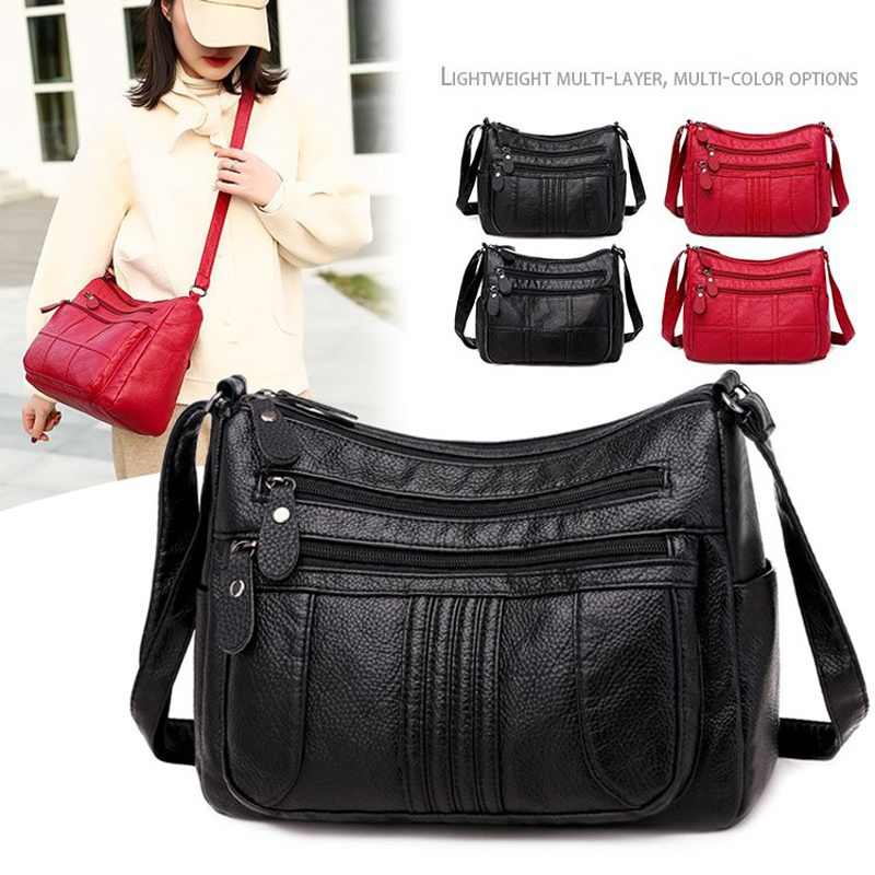 Women Ladies PU Leather Shoulder Crossbody Bag Decor Multi Layers Zipper Handbag