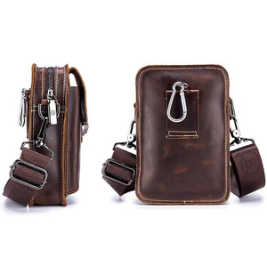 Image 2 - BULLCAPTAIN Crazy horse leather Male Waist Packs Phone Pouch Bags Waist Bag Mens Small chest Shoulder Belt Bag small back pack
