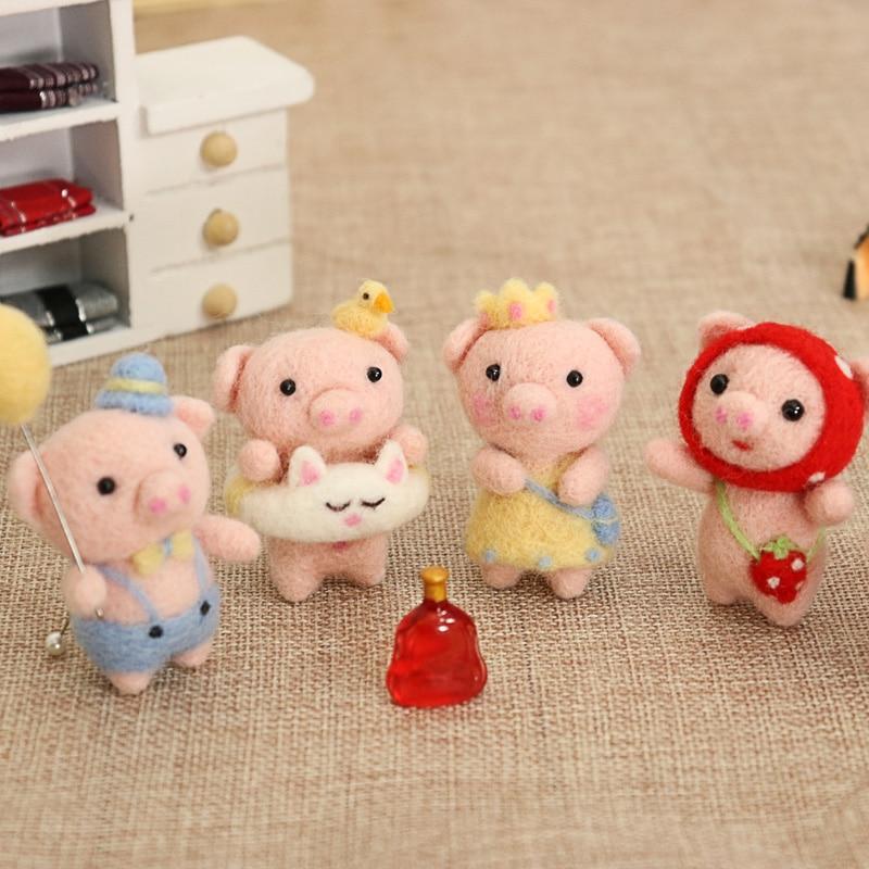 Children Kids Baby Lovely Cute Pig Animal Wool Needle Felt Material Package For Gift DIY Handmade Gift For Her