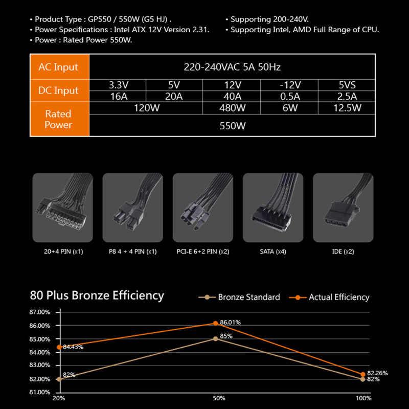 Aigo GP550 Desktop Voeding 550W 80Plus Brons Rustig Power 12V Atx Actieve Voeding Computer Cooling fan Voor Intel Amd Pc
