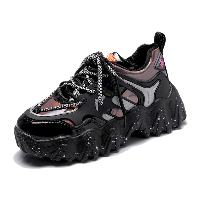 Spring Woman Chunky Platform Sneakers 2020 New Ulzzang Fashion Lace Up Trainers High Quality Tenis Female Old Dad Casual Shoes 5