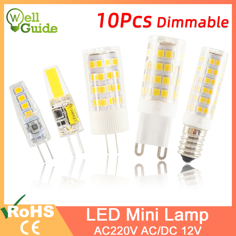 10PCS <font><b>LED</b></font> <font><b>G4</b></font> Light G9 <font><b>Led</b></font> Lamp E14 Bulb 7W <font><b>9W</b></font> 10W 12W COB 2835SMD <font><b>220V</b></font> AC12V No Flicker Dimmable Ceramic Replace halogen lamp image
