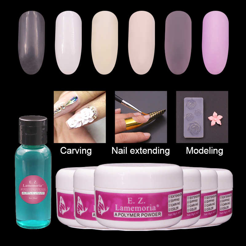 Verlengen Acryl Poeder Dip Poeder Systeem Set Air Droog Acryl Liquid Polymer Poly Gel Builder/Carving Crystal Nail Art kit Tools