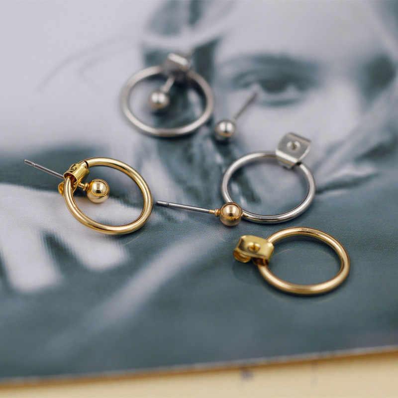 Moda simples selvagem liga feijão brincos pendurado pequeno anel masculino e feminino orelha jóias ouro e prata dois-cor modelos selvagens