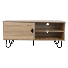 Modern TV Stand TV Console Cabinet with 2 Storage Shelves Door and Metal Hairpin Legs for Furniture Home